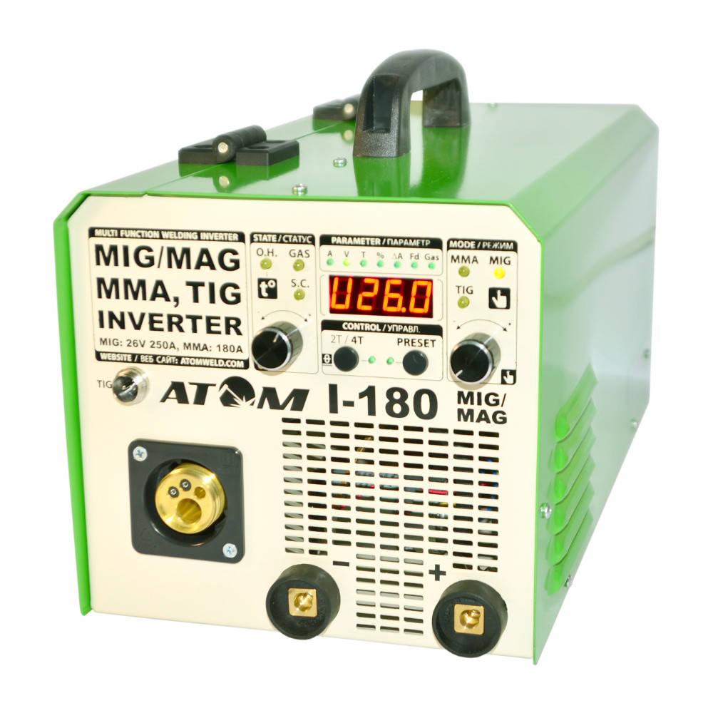 Сварочный инверторный полуавтомат  Атом I-180 MIG / MAG с горелкой В15 и кабелем массы 2м Binzel