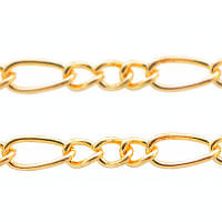 Цепочка железная, плетение фигаро, цвет золотой, длина -5 м УТ 006123