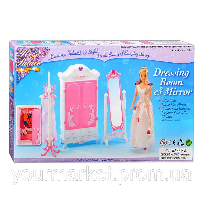 Мебель для кукол Gloria 2609 Гардеробная комната шкаф,зеркало.вешалка