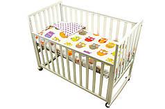 Детское покрывало 75х130 в кроватку двустороннее Совы сатин