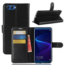 Чехол книжка для Huawei Honor V10 боковой с отсеком для визиток, черный