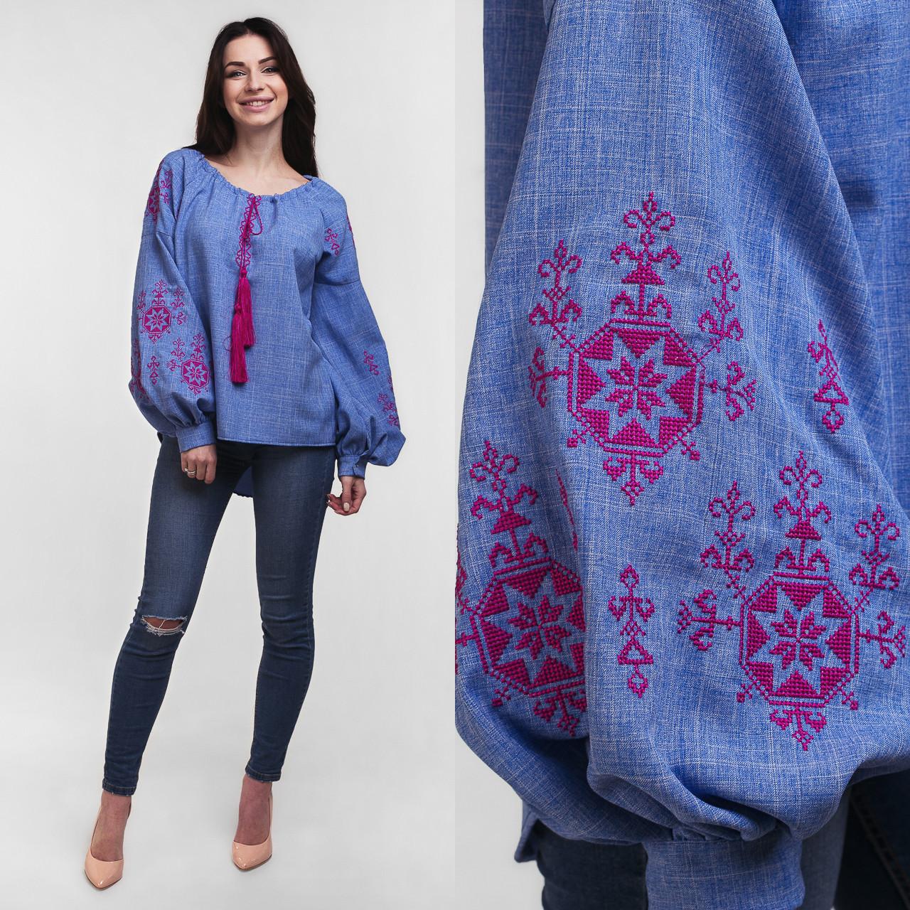 Красивая джинсовая сорочка-вышиванка женская с орнаментом