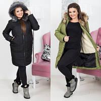 Удлиненная зимняя женская куртка №5063 (р.48-54)