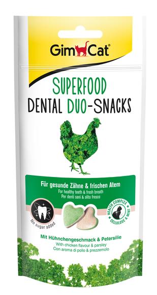 Gimpet Superfood Dental дуо-снек 40 г- лакомства для кошек с курицей и петрушкой (для зубов)