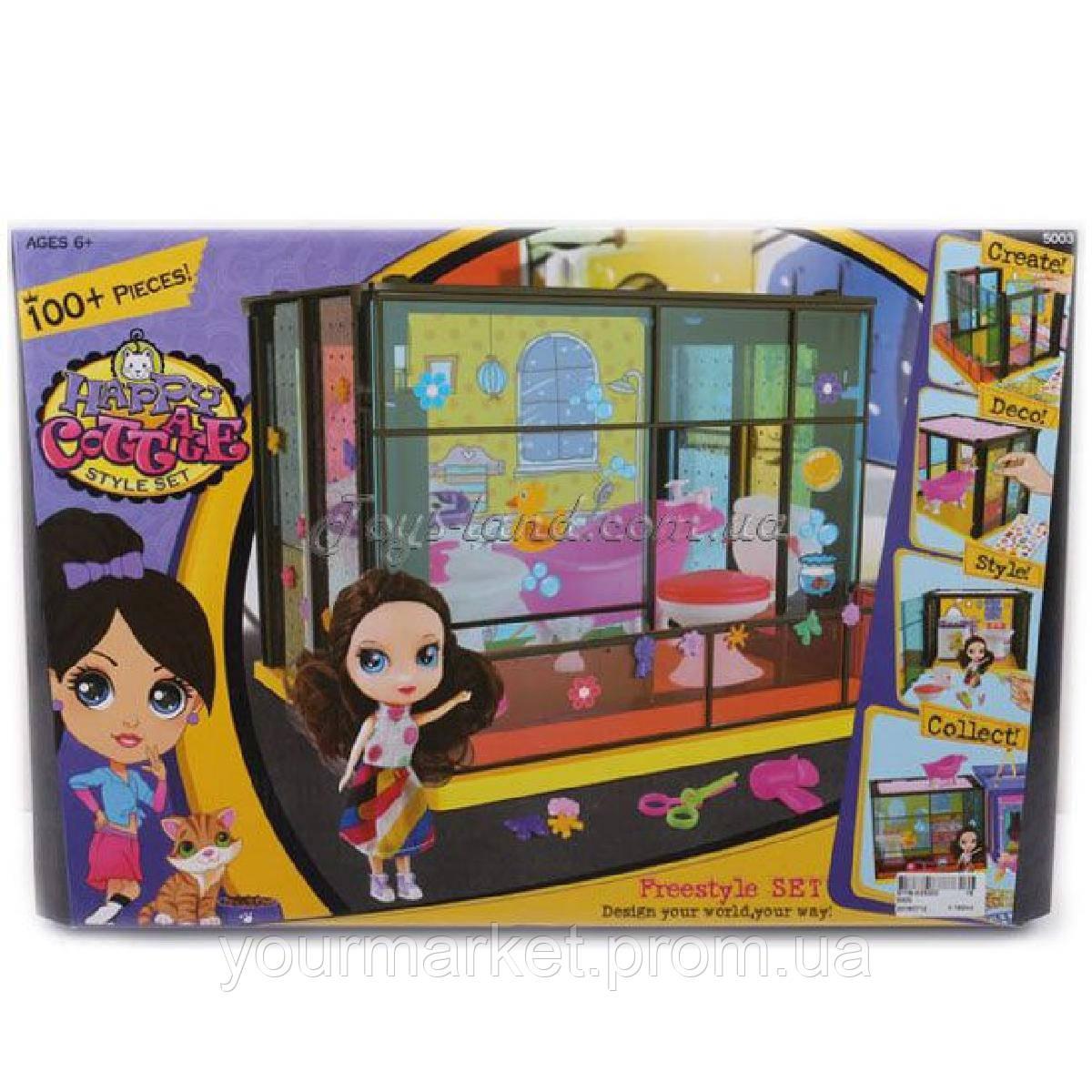 Домик  сборный, с куклой, мебелью для ванной,