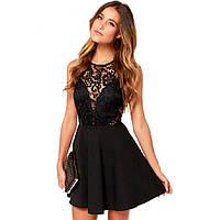 Вечернее платье черного цвета кружевной верх полуоткрытая спина