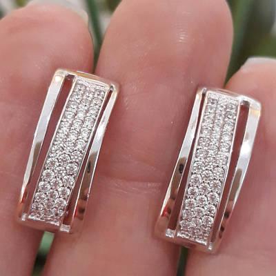 Серебряные серьги дорожки с фианитами