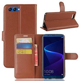 Чехол книжка для Huawei Honor V10 боковой с отсеком для визиток, коричневый
