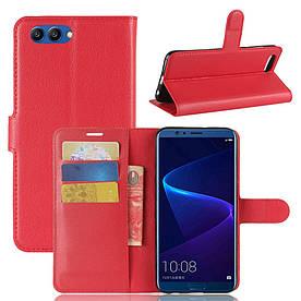 Чехол книжка для Huawei Honor V10 боковой с отсеком для визиток, красный