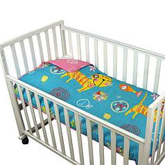 Детское покрывало 75х130 в кроватку двустороннее Кот