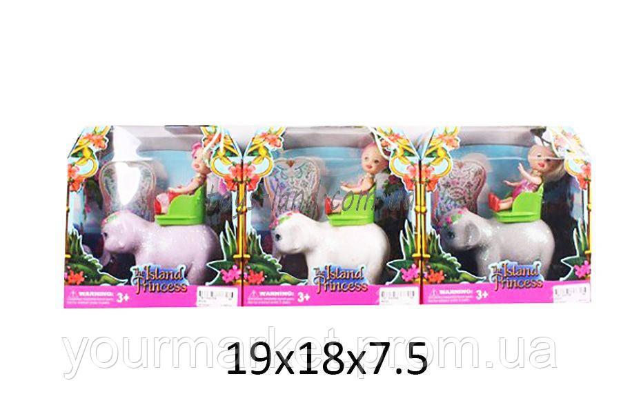 Кукла маленькая 66330 (144шт/4) 3вида, верхом на слоне, в кор. 19*18*7