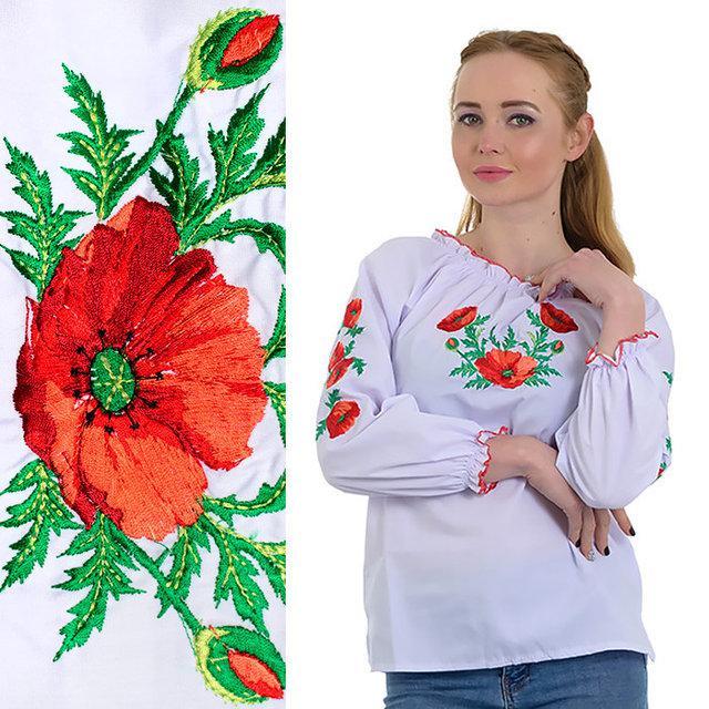 Хлопковая сорочка вышитая маками гладью в белом цвете