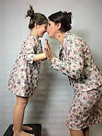 Костюм для мамы и платье для дочки из одинаковых материалов