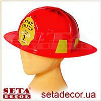 Каска (шлем) Пожарный красная пластиковая шапка