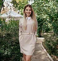 Платье свободного кроя с воротником стойка