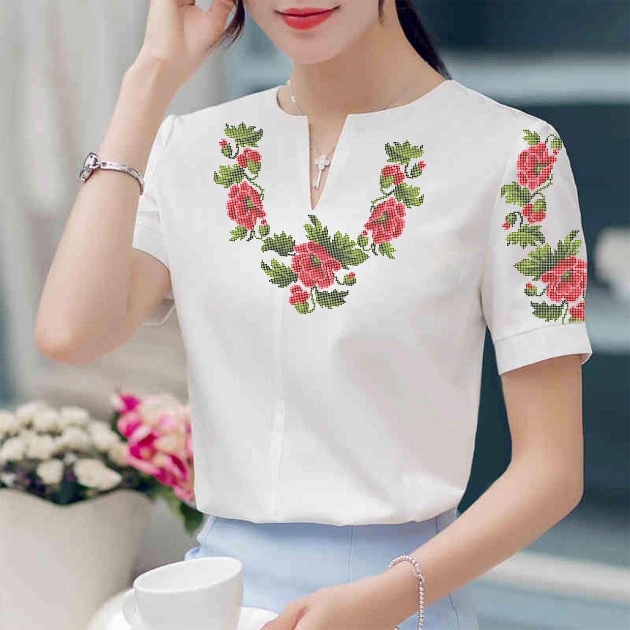 Заготовка вишиванки жіночої сорочки та блузи для вишивки бісером Бисерок «Маки 19» (Б-19  )