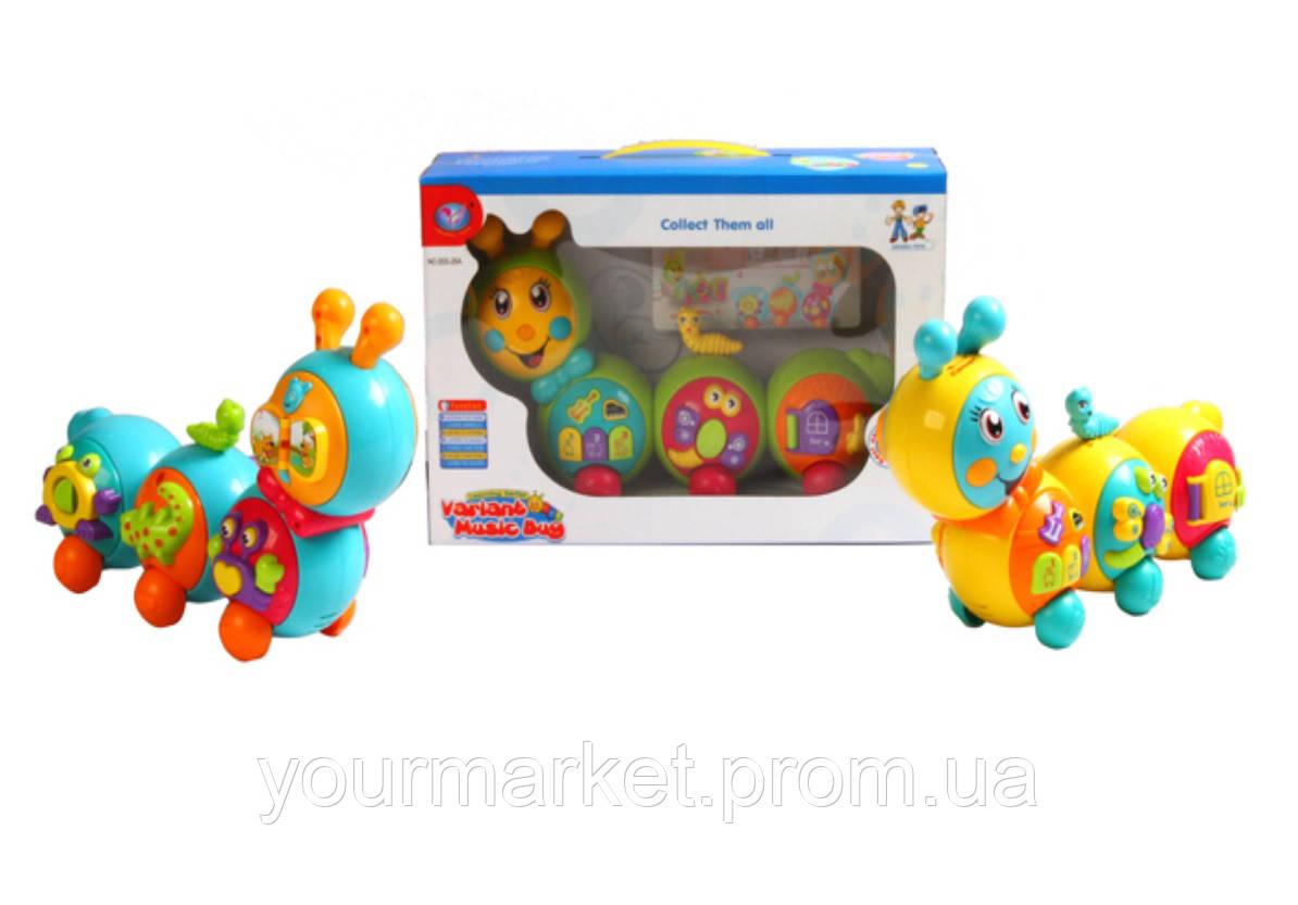Музыкальная игрушка 855-26A (24шт/2) Гусеничка, свет, звук,  в коробке