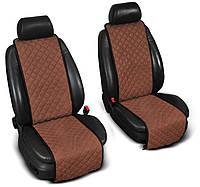"""Накидки на сиденье """"Эко-замша"""" узкие (1+1) без лого, цвет коричневый"""