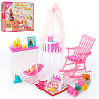 Кукольная мебель Детская комната Глория Gloria 9929 колыбель, люлька, комод, кресло-качалка