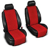 """Накидки на сиденье """"Эко-замша"""" узкие (1+1) без лого, цвет красный"""