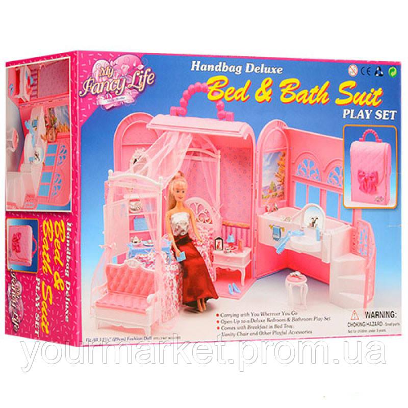 Мебель для кукол Gloria 9988 Будуар домик в чемоданчике, кровать, тумб