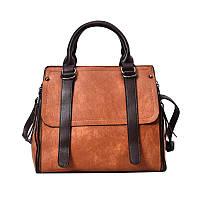 Стильная вместительная женская сумка коричневого цвета