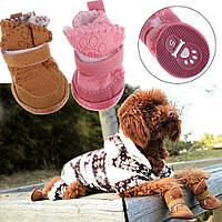 Нескользящие Обувь Собака Хлопок Обувь Водонепроницаемый теплые зимние Обувь Pet толстый мягкая подошва хаки/р