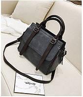Стильная вместительная женская сумка серого цвета