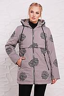 Женская демисезонная куртка из плащевой ткани с принтом - роза