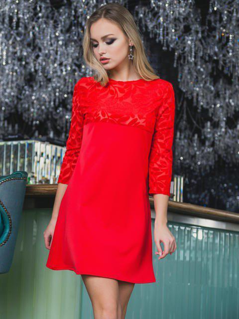 38c2bb20e70 Купить Женское короткое расклешенное платье с гипюром в Одессе от ...