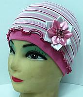 ОПТ Детская трикотажная шапочка для девочки Цветочек - D1512