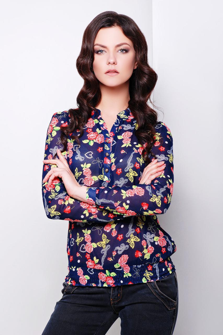 a18610c36af Блуза Весна темно-синяя с цветами шифоновая свободного кроя на резинке на  бёдрах