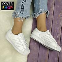 Кроссовки женские adidas Superstar, материал - кожа, белые