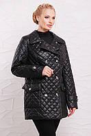 Женская демисезонная куртка из стеганой плащевой водоотталкивающей ткани