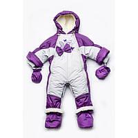 Детский зимний комбинезон-трансформер  на меху для девочки Бабочки Модный карапуз (03-00525)