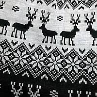 Юбка с оленями и снежинками зимней темы трикотажная