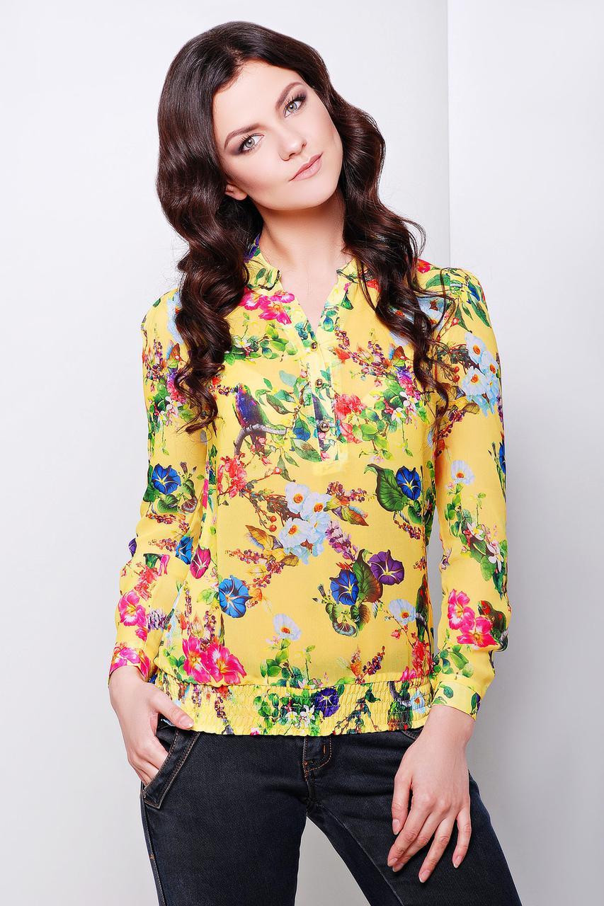 1706d35a7f4 Блузка Весна желтая в цветы шифоновая свободного кроя на резинке на бёдрах  - Интернет-магазин