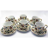 Чайный сервиз 12 предметов фарфор Бабочки