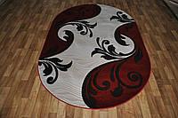 Рельефный полипропиленовый ковер Meral 5027 бордовый овальный