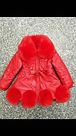 Детское весенее пальто красного цвета с меховой отделкой