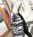 Куртка зимняя пуховик женская серебро  с белым мехом, фото 2