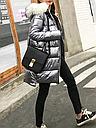 Куртка зимняя пуховик женская серебро  с белым мехом, фото 4