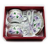 Чайный сервиз на 2 персоны Цветы на белом фоне