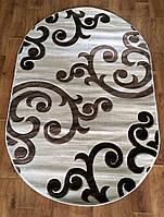 Рельефный ворсовый ковер Meral 6733 кремовый овальный