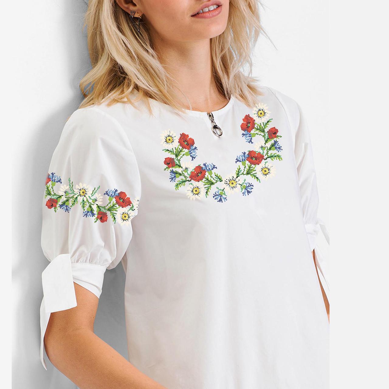 Заготовка вишиванки жіночої сорочки та блузи для вишивки бісером Бисерок «Польовий віночок» (Б-61 )