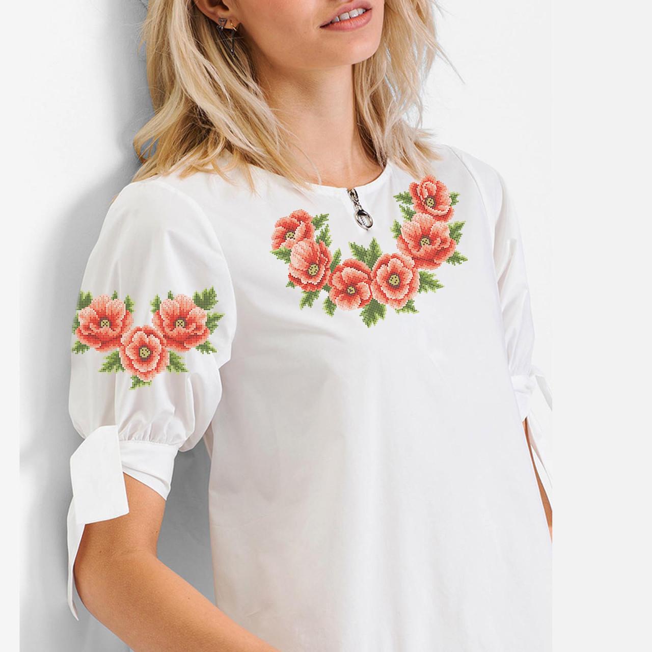 Заготовка вишиванки жіночої сорочки та блузи для вишивки бісером Бисерок  «Віночок з маків» (Б-46 ) 92d586252d9d5