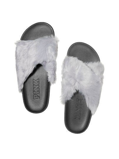 Victoria's Secret PINK Faux Fur CrissCross Slides - Слайдеры