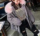 Женская куртка парка на пуху с розовым мехом (серая), фото 5