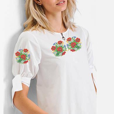 Заготовка вишиванки жіночої сорочки та блузи для вишивки бісером Бисерок « Польові букетики» (Б 9c18337279ca2