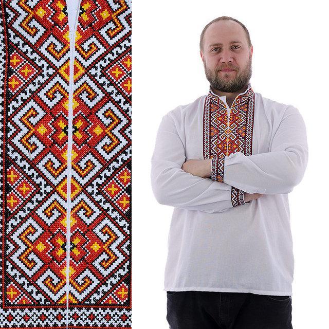 Вышитая мужская сорочка на домотканом полотне